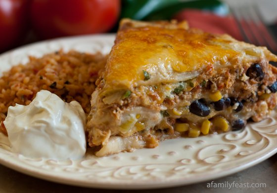 A delicious and creamy version of Mexican Lasagna with White Sauce