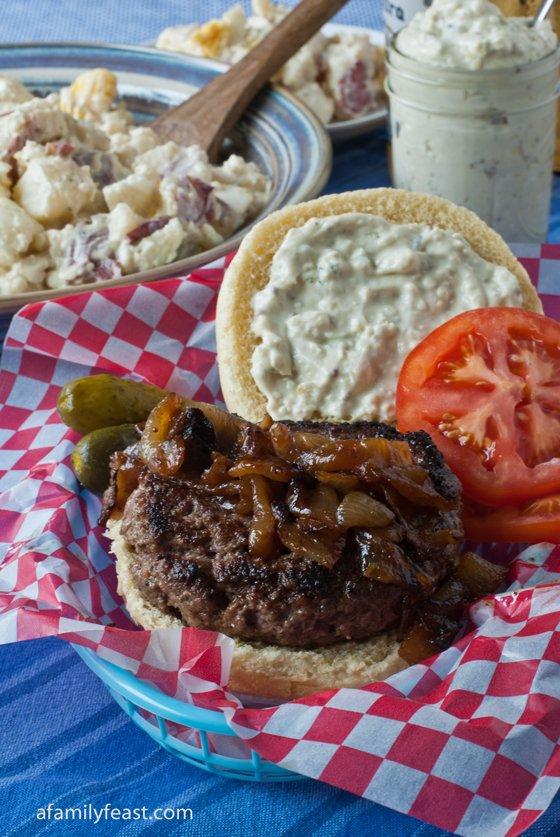 Seasoned Burgers with Caramelized Onions - A Family Feast