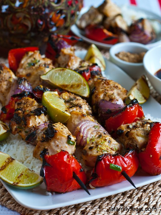 Sesame Chicken Skewers with Sriracha-Soy Dipping Sauce - A Family Feast