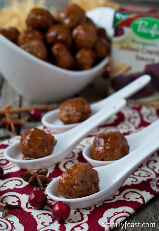 Turkey Meatballs with Cranberry Sweet & Sour Sauce - a delicious twist on traditional Thanksgiving flavors! Tender meatballs in an Asian-inspired cranberry sweet & sour sauce!