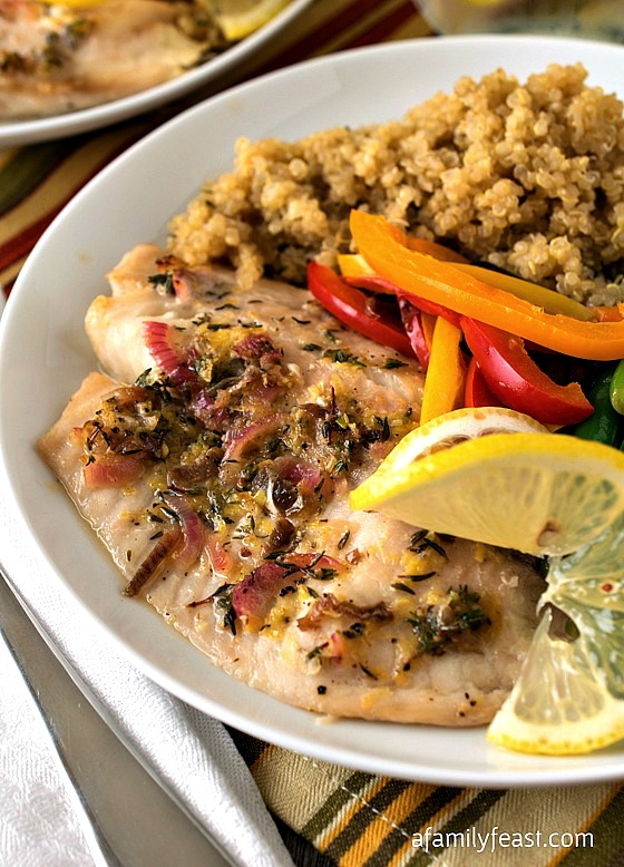 Baked Tilapia with Quinoa and Garlicky Green Beans - A Family Feast #SimpleStart