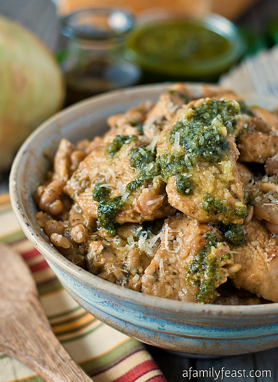 Pesto Chicken over Sautéed Cannellini Beans - A hearty, low-carb dinner that is quick and easy to make!