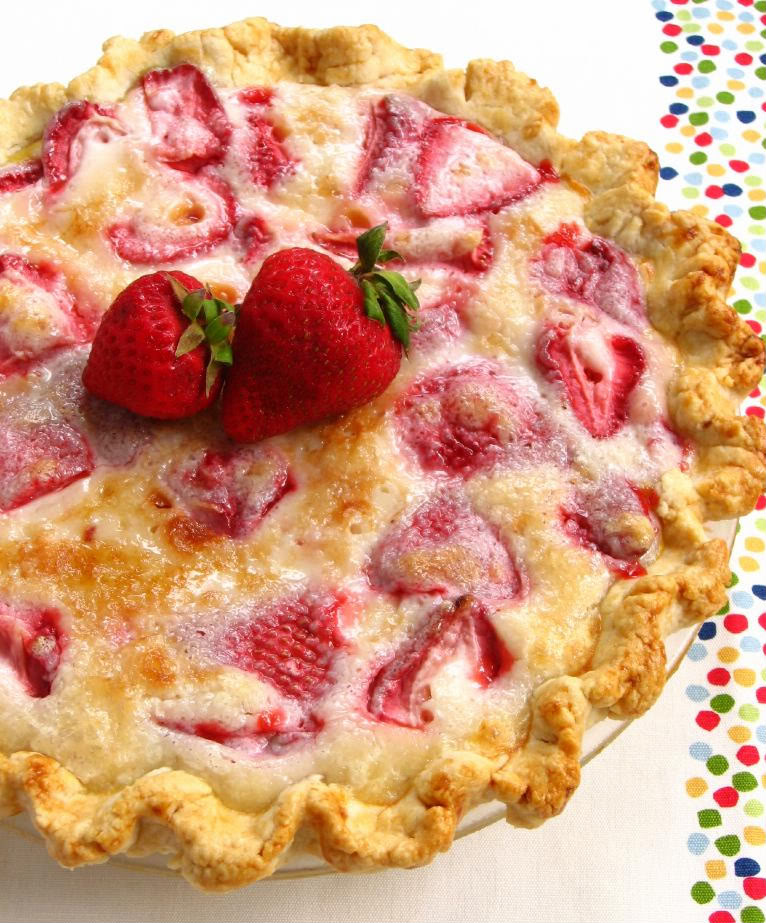 Summer Strawberry Sour Cream Pie - 25 Sweet and Savory Strawberry Recipes