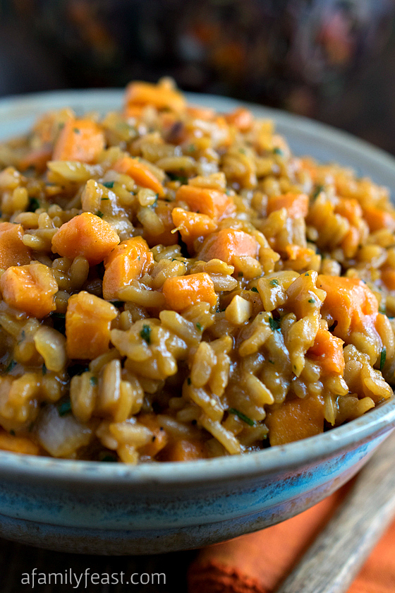 Sweet Potato Risotto - Creamy and slightly sweet thanks to caramelized vegetables - this recipe is perfect served with a flavorful steak or other roasted meat!