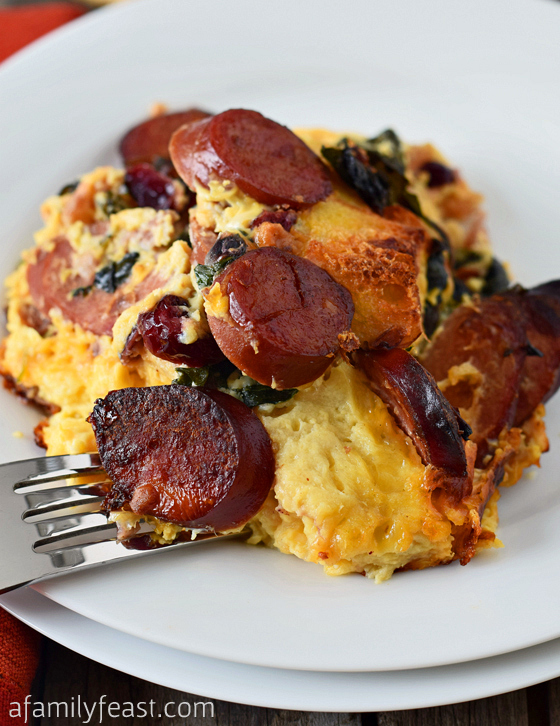 Turkey Kielbasa and Baby Kale Strata - Caramelized Polish sausage ...