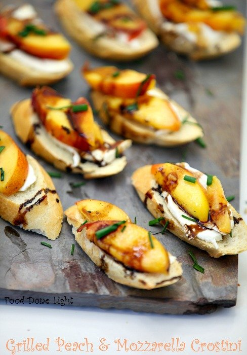 Grilled Peach and Mozzarella Crostini - 25-Plus Perfect Peach Recipes