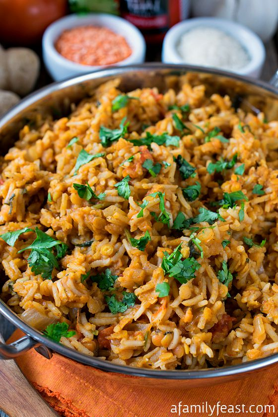 Curried Rice Pilaf with Red Lentils - A zesty, flavorful side dish or ...